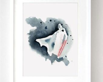 SALE - 8x10 - Darth Vader -Star Wars Art Print- Star Wars Poster - Star Wars Decor - Star Wars Watercolor Print