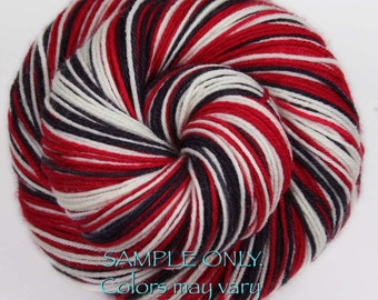 """Dyed-To-Order: Sports Team Self Striping Sock Yarn - """"RED-BLACK-WHITE"""" - Hand dyed - Chicago, Portland, Ottawa"""