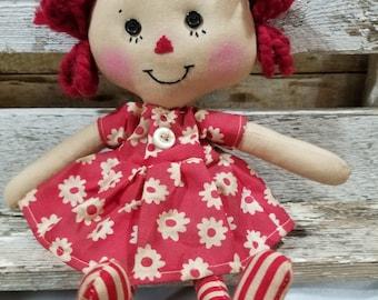 Raggedy Annie Primitive Dolls Lil Polly Annie Raggedy Ann Doll Red Floral Dress Annie Doll