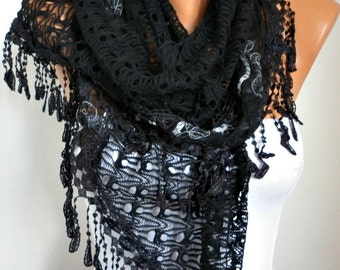 Valentine's Gift,Black Filet & Lace Scarf,Wedding Shawl Bridesmaid Gift Gift Ideas For Her Women's Fashion Accessories
