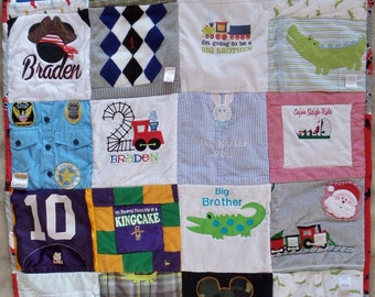 Baby clothes quilt , Memory quilt, Custom keepsake quilt, Memory blanket, Baby clothes blanket, Blanket with baby clothes, Memorial quilt