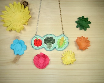 "Embroidered necklace ""Vegetables"""