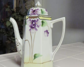 Beautiful Vintage Nippon China E-OH Hand Painted Tall Tea Pot With Violet Floral Design And Gilt Gold Accents