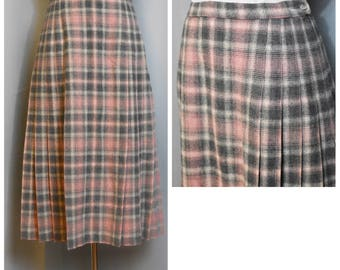 Pendleton Pink and Gray Wool Plaid Pleated Skirt