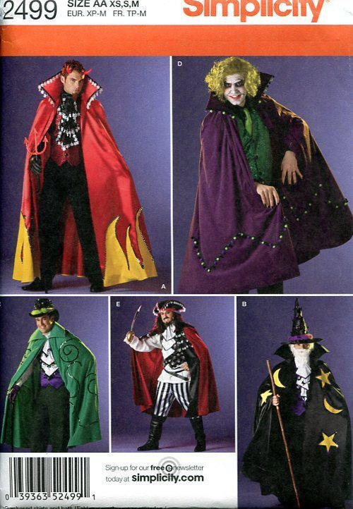 Simplicity 2499 Free Us Ship Sewing Pattern Adult Costume Cape Cloak ...