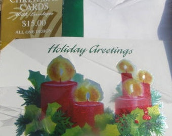 box Christmas cards  ,  New vintage  ps greeting cards , Boxed Christmas cards foil candles , made in use 16 cards & envelopes