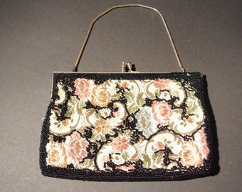 Handbag - Du-Val - jacquard and black beads