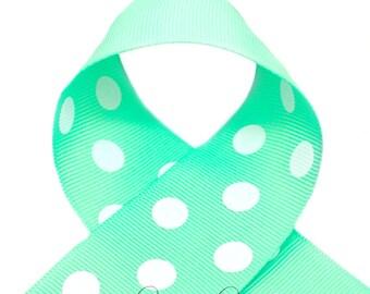 Mint Green Polka Dots 1-1/2 inch Polka Dot Grosgrain Ribbon - Polka Dot Ribbon, Polka Dot Hair Bow, Polka Dot Bow, Ribbon By The Yard