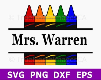 Crayon SVG / Teacher SVG / Crayon Monogram / Monogram SVG / Split Monogram svg / Teacher Gift / svg Files for Cricut / Silhouette