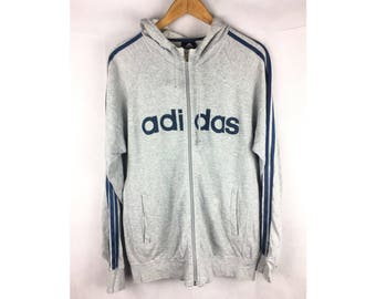 ADIDAS Hoodies Long Sleeve Hoodies Fully Zipper with Big Spell Out Logo Medium Size