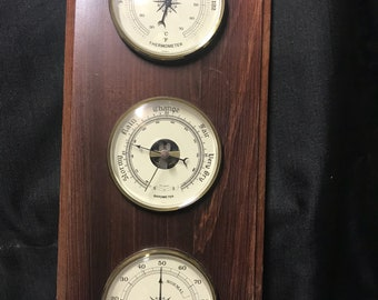 Vintage Weather Station Thermometer Mid Century Wooden Wall Weather Center