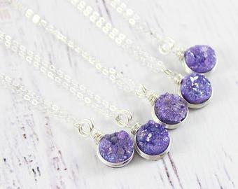 Violet Druzy Necklace, Purple Druzy Necklace, Sterling Silver Necklace, Small Pendant Necklace, Circle Necklace, Wire Wrap Necklace, Quartz