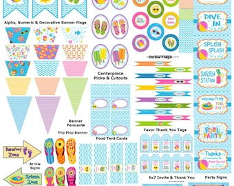 1st Birthday Pool Party, Swim Birthday Party, Pool Party Supplies, Summer Birthday Party, Beach Pool Party, Pool Party - Printables 4 Less