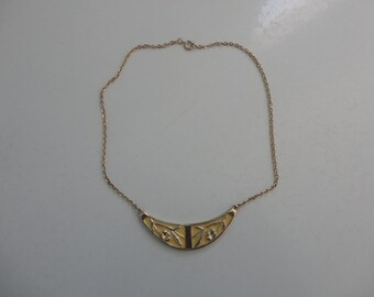 VINTAGE gold and yellow FLORAL NECKLACE