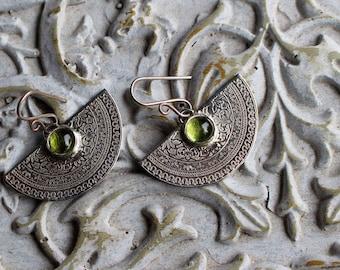 Sterling silver peridot earrings - half moon earrings - baroque earrings - august birthstone arabesque - floral - ETERNAL,