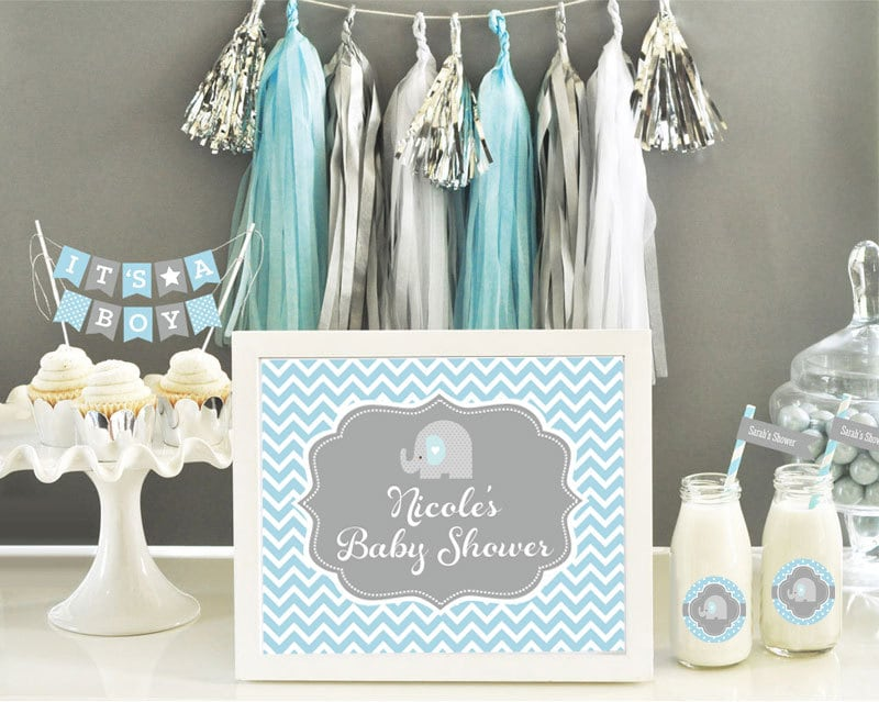 Baby Blue Elephant Baby Shower Decorations