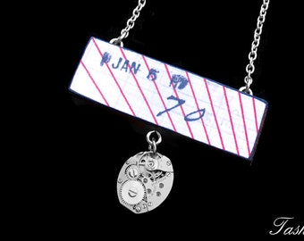 Steampunk Wooden Geometric Necklace, Vintage Long Silver Watch Movement Pendant, Antique Ephemera, Boho Jewelry