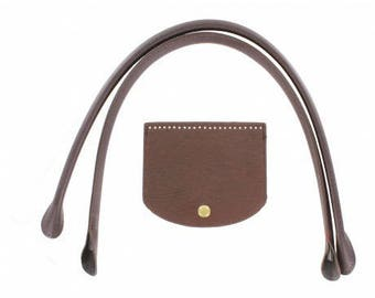 2 handles sewing brown leather flap