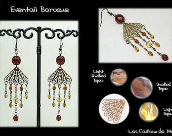 Earrings 'Range Baroque' - BRONZE + 1 Topaz