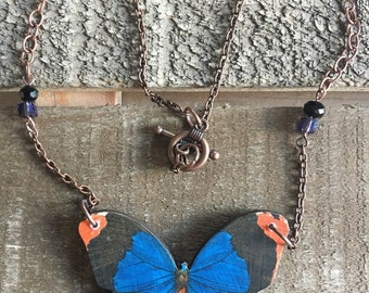 Blue butterfly natural whimsy necklace