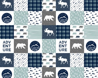 Woodland Nursery Quilt Fabric by the Yard Cheater Quilt Fabric Cotton Baby Boy Fabric Navy Gray Bear Moose Organic Cotton Minky
