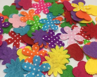 500pcs 20-25mm Mixed Non Woven Fabric Flower Embellishments Scrapbooking Cloth Patch Cardmaking Shabby Chic Crafts