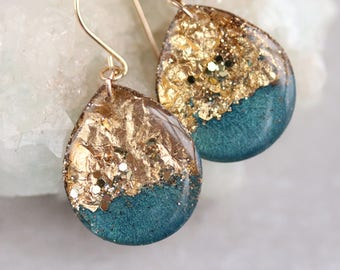 teal and gold leaf teardrop earrings on 14 karat gold fill ear wires - large size