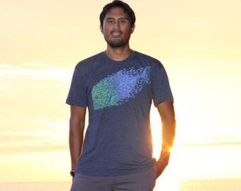 Big Fish tee - Ulua schooling fish shirt - blue/gold print on soft tees.  Fractal t-shirt. Hand printed art shirt. Ulua shirt. Fishing shirt