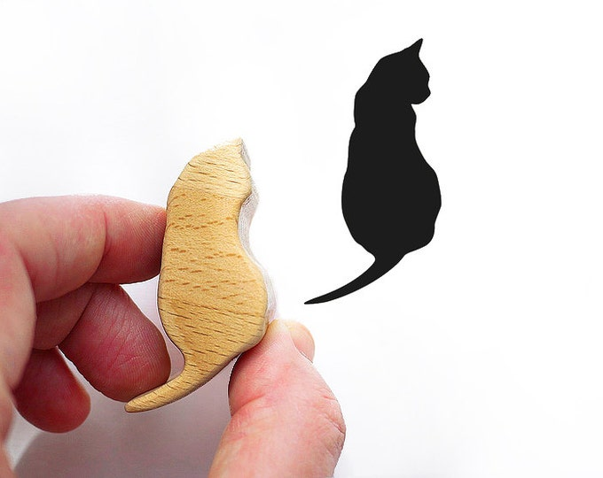 Cat Stamp from Wood, Kitty Rubber Stamp for Cards or Scrapbooking