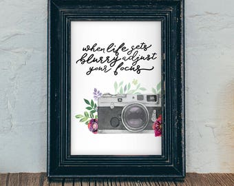 Vintage Camera Wall Art Camera Print Camera Printable Quote Print Inspirational Quote Print Camera Decor Floral Camera INSTANT DOWNLOAD