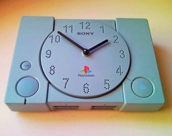 Sony PlayStation 1 PS1 PlayStation1 fat retro recycled video game console wall and table desk clock not only for men or gamer fan - gray