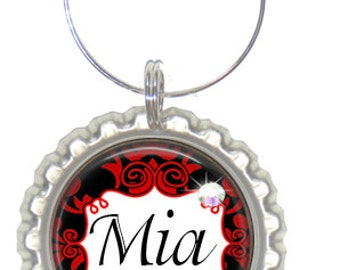 Set of 6 - PERSONALIZED WINE CHARMS - Black Red Damask - Perfect For  Bachelorette Party Favors, Wedding Favor, and Parties