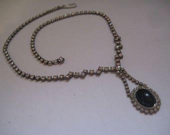 Vintage 60s Rhinestone Necklace with Jet Oval Pendant