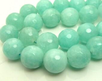 10mm Seafoam Green Jade Faceted Gemstone Beads - 19pcs - BF24