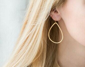 Gold Teardrop Earrings, Dainty Gold Earrings, Gold Drop Earrings, Dangle Earrings, Everyday Earrings, Simple Gold Earrings, Gift for Her