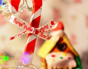 """Plywood """"Candy cane"""" ornament."""