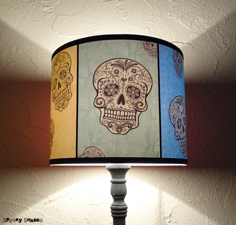 Rainbow sugar skulls lamp shade lampshade spooky shades description fun and colorful sugar skulls lamp shade aloadofball Gallery