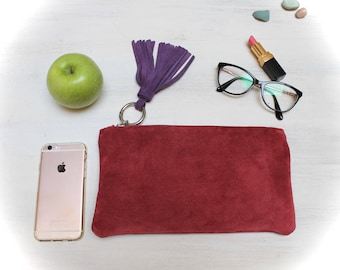 SALE! red leather clutch, suede leather clutches, clutches hand made agnès de juliis