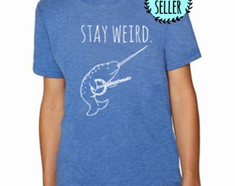 Stay Weird Banjo Playing Narwhal Kids T-Shirt, Tri-blend, Comfortable. Funny Gift. Shirts with Sayings. Royal blue.