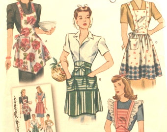 Apron Sewing Pattern - Simplicity 1221 - Apron - Sewing Pattern - Vintage 1940's - New - Size: Misses - Small - Medium - Large