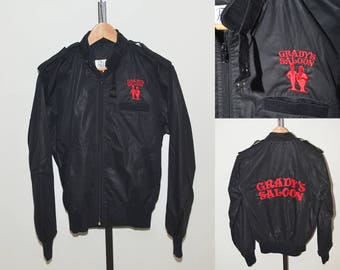 Vtg Members Only Style Bar Jacket | Grady's Saloon Embroidered Black Red Jacket