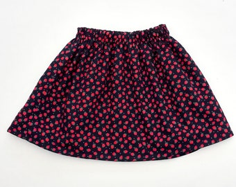 Girls Skirt, Girls Strawberry Skirt, Girls Party Skirt, Strawberries, Red and Navy Outfit, Christmas Clothes, Winter Skirt, Christmas Outfit