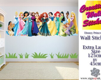 Disney Princesses Wall Art/Decal Sticker Kids Room w125cm x h45cm