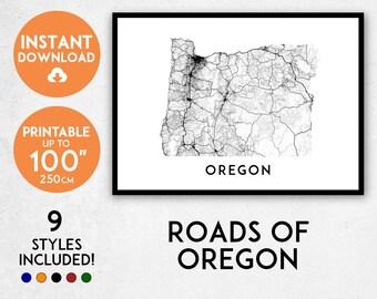 Oregon map print, Printable Oregon map art, Oregon print, USA map, Oregon art, Oregon poster, Oregon wall art, Oregon gift, Map of Oregon