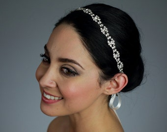 Bridal Crystal Headband Attached to a Pure Silk Satin Ribbon in Ivory, White, or Black - Ready to ship in 3-5 days