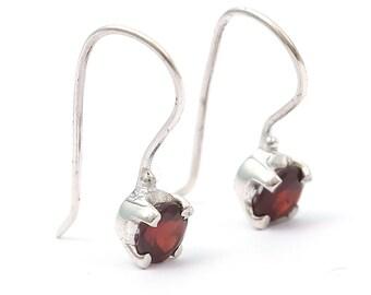 Garnet 92.5 sterling silver earring
