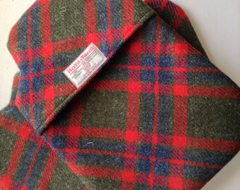 Harris Tweed Blue & Green  x Red  Thermal lined Hot Water Bottle cover