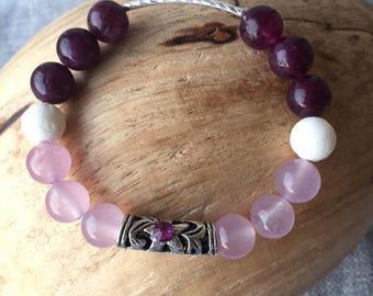 February Birthstone Beaded Bracelet. Glass Beaded Bracelet. Silver Charm with Birthstone Accent, Custom