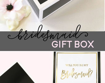 Bridesmaid Gift Box Personalized Bridesmaid Box Bride Gift Box Wedding Gift Box Black Box Custom Box (EB3193SCP) PERSONALIZED EMPTY BOX