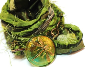 Lime Green Recyceld Sari Silk Dragonfly Glass Button Cuff/Necklace -olive green, sage, spring and forest green